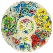 Marc Chagall, Finale Studie zum Deckengemälde der Opéra Garnier, 1963, Gouache auf Papier, 140 x 140 cm, Privatbesitz © VG Bild-Kunst, Bonn 2021