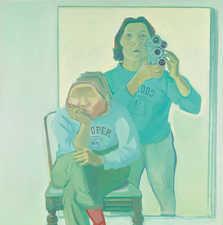 """Maria Lassnig, """"Doppelselbstporträt mit Kamera"""", 1974; Artothek des Bundes, Dauerleihgabe im Belvedere, Wien © Maria Lassnig Stiftung / Bildrecht, Wien 2021; Foto: Johannes Stoll"""